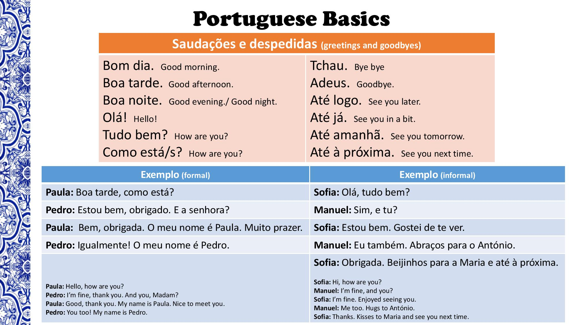 Portuguese basics a survival kit wake up and say bom dia to yourself pay attention to the differences between formal and informal it can make the difference m4hsunfo